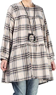 Mordenmiss Women's Plaid Tops Plus Size Long Sleeve Blouses Pleated Loose Tunic Shirt