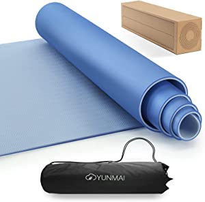 """YUNMAI TPE Yoga Mat Premium with Carrying Bag Double-Sided Odorless Non-Slip 6mm Pilates Mats High Grip 72"""" X 24"""" Exercise Mat ECO Friendly Training Mats Gym Home Outside"""