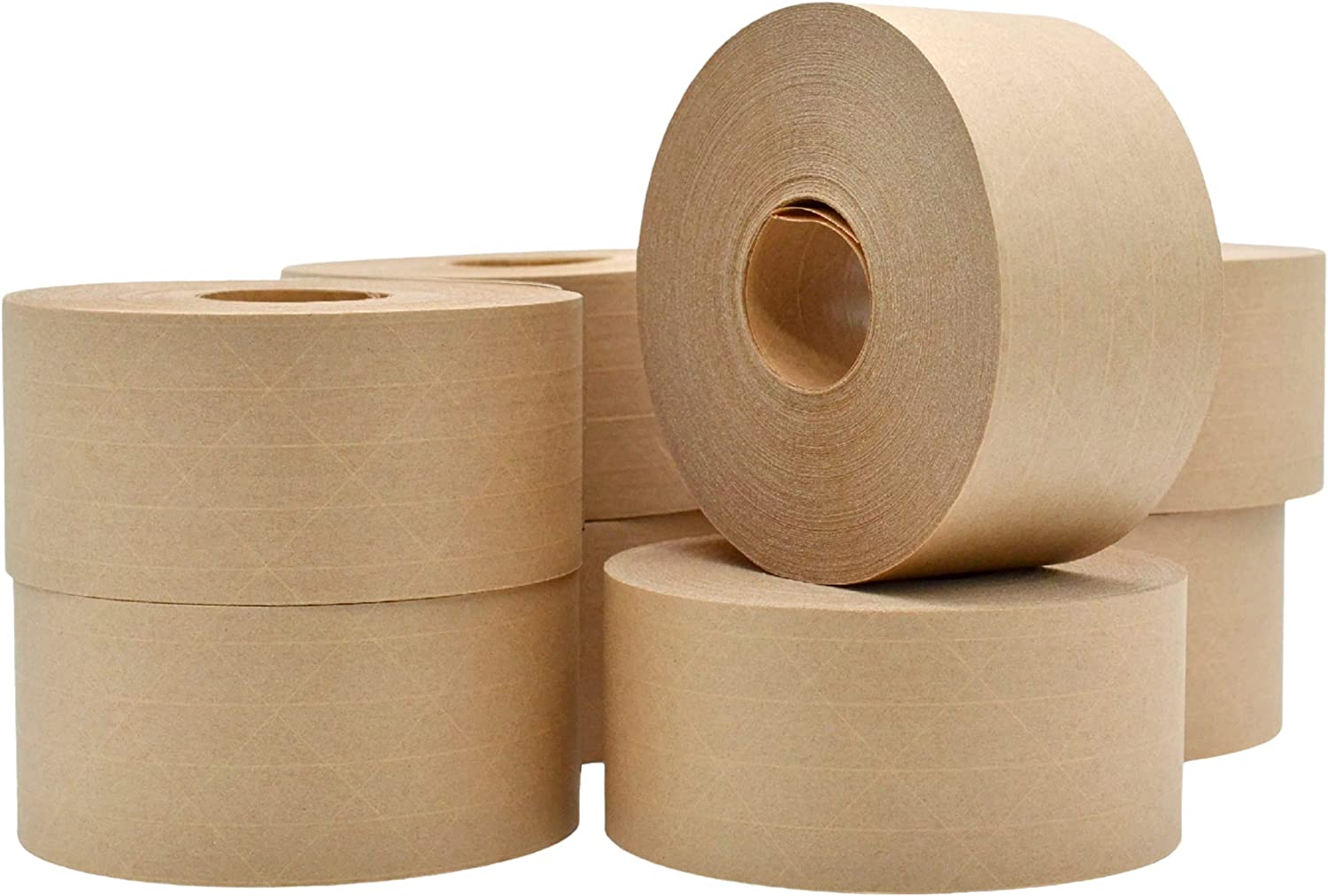 WOD WATWTE Fiberglass Reinforced Water Activated Gummed Kraft Paper Tape - 2.75 inch (70mm) x 375 ft. (Pack of 8-Rolls) Ideal for Packing, Shipping, & Sealing