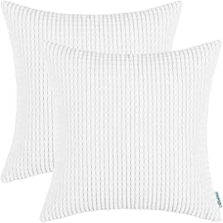 CaliTime Pack of 2 Comfy Throw Pillow Covers Cases for Couch Sofa Bed Comfortable Supersoft Corduroy Corn Striped Both Sides 18 X 18 Inches True White