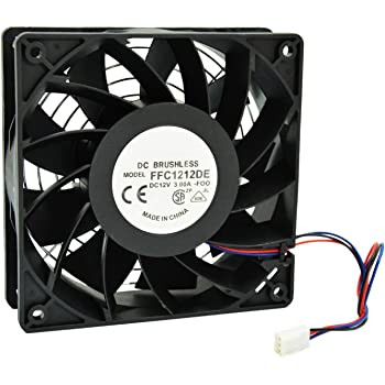 HIGHFINE 12cm 120mm 200CFM 4000RPM CPU Cooling Fan FFC1212DE 12V DC 3-Pin 3-Wire PC Computer High CFM Cooling Case Fan with Metal Finger Guard Grill