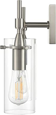 Effimero Brushed Nickel Bathroom Vanity 4 Light Fixture - Modern Over Mirror Lighting with Clear Glass Shades