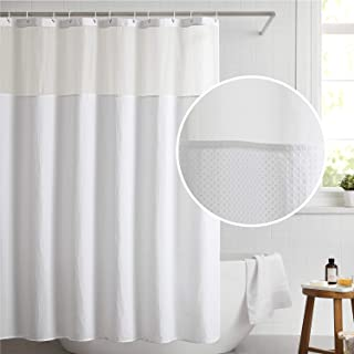 Bedsure Fabric Shower Curtain White Waffle Weave Shower Curtain for Bathroom Waterproof Bathroom Curtain with 12 Hooks Machine Washable 72x72 Inch