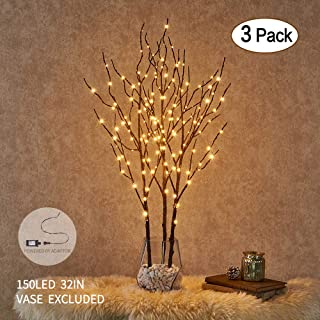 Hairui Brown Twig Branch with Lights 32in 150 LED Plug in Lighted Willow Branch for Christmas Home Decoration Indoor Outdoor Use 3 Pack (Vase Excluded)