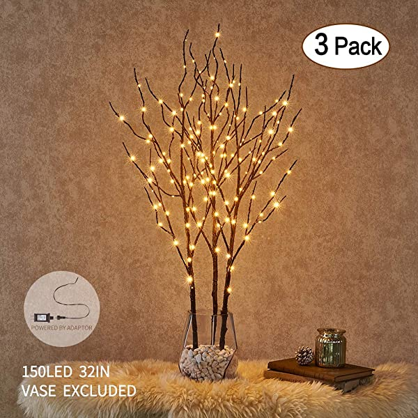 海瑞棕色树枝树枝带灯 32 150 LED 插头点亮柳枝圣诞节家居装饰室内室外使用 3 个装花瓶除外