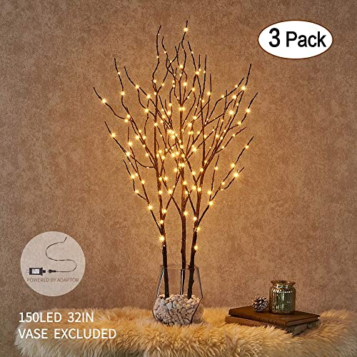Hairui Lighted Willow Branches Brown With Fairy Lights Decor 32in 150LED Pre Lit Artificial Twig