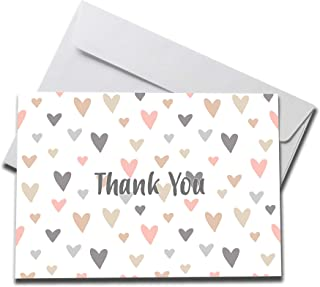 (5 count) Pastel Hearts Thank You Cards Set with Envelopes – professional paper with blank white inside – notes for baby or bridal shower wedding birthday party