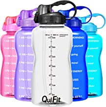 QuiFit 2L Large Sport Water Bottle with Straw & Time Marker,BPA Free,Leak-Proof and Durable,for Fitness and Outdoor Enthus...