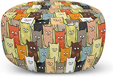Ambesonne Cats Ottoman Pouf, Funny Colorful Graphic Kittens Cartoon Style Boys Girls Kids Playroom Nursery, Decorative Soft Foot Rest with Removable Cover Living Room and Bedroom, Multicolor