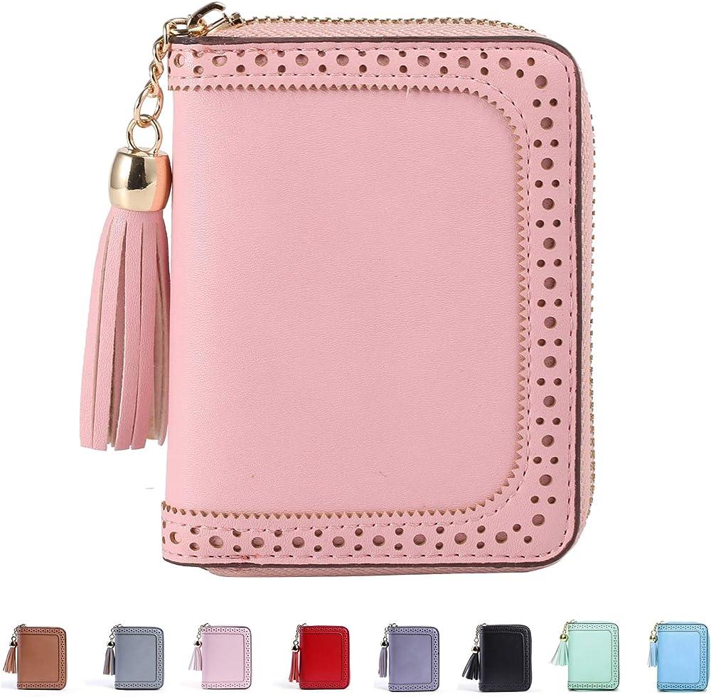 Y yongyuan porta carte di credito da donna portafogli in pelle morbida rosa