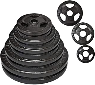 Total 40kg Olympic Cast Iron Hammertone Weight Plate Set - Energetics Home Gym - - Weight Training Exercise Workout Fitnes...