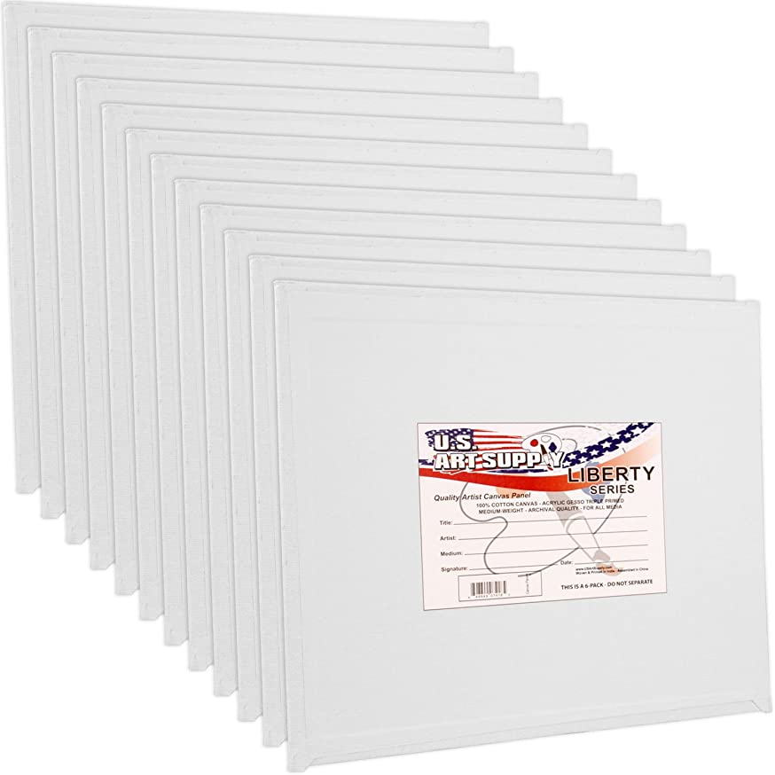 US Art Supply 12 X 12 inch Professional Artist Quality Acid Free Canvas Panel Boards for Painting 12-Pack (1 Full Case of 12 Single Canvas Board Panels)