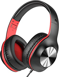 iClever Over Ear Headphones - Stereo Wired Headphones with MIC, Soft Memory Earmuffs, Foldable, Adjustable Headphones with 3.5mm Aux Jack for School/Office/Online Class/Meeting/PC/Tablet, Black&Red