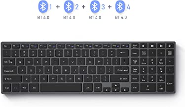 Multi Device Bluetooth Keyboard, Seenda Rechargeable Aluminum Bluetooth Keyboard with Numeric Keypad(4- Device Sync), Space Gray