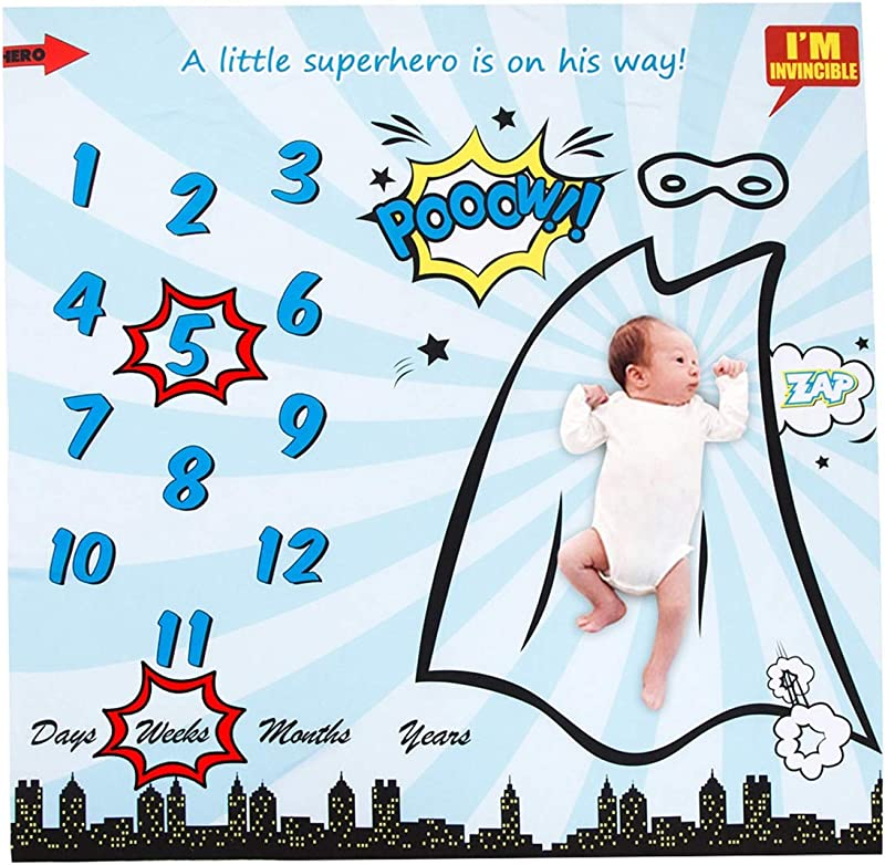 Puseky Superhero Print Baby Monthly Milestone Blanket 2 Frame Baby Boy Girl Photography Backdrop Photo Prop