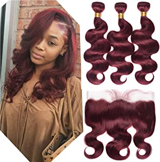Peruvian Human Hair 3 Bundles 99j# Red Wine Body Wave and 13x4 Ear to Ear Lace Frontal Closure Pre Plucked Popular Burgundy Body Wave Hair Bundles with Frontal(20 22 24+18inch Lace Frontal)