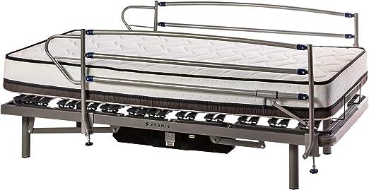ekamia Cama Articulada Eléctrica Eris con Colchón Delling + Barandillas Medidas 105cm x 190cm - Mando con Cable