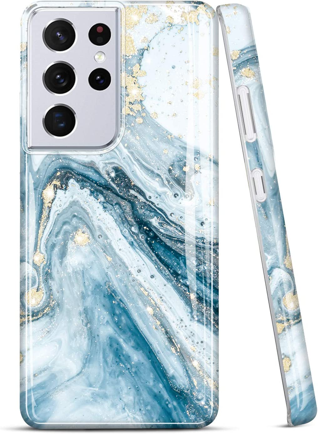 JIAXIUFEN Galaxy S21 Ultra Case Gold Sparkle Glitter Marble Slim Shockproof TPU Soft Rubber Silicone Cover Phone Case for Samsung Galaxy S21 Ultra 5G 6.8 inch 2021 Blue