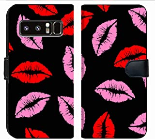 MSD Premium Phone Case Designed for Galaxy Note 8 Flip Fabric Wallet Case Image ID: 14703773 Pink and Red Kiss Lipstick Seamless Pattern Background
