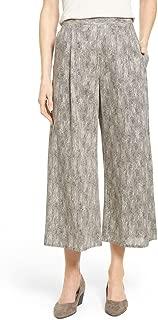 Chainette Printed Organic Cotton Crop Wide Leg Pants Black/Natural