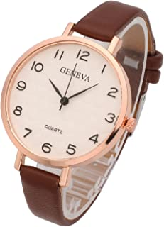 Top Plaza Womens Ladies Analog Quartz Wrist Watch - Fashion Simple Watch with Thin Leather Band Arabic Numerals