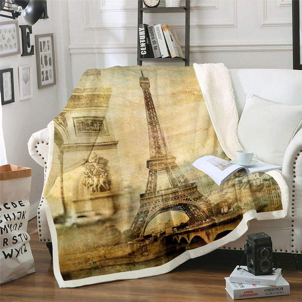 Manta de forro polar con diseño de Torre Eiffel para sofá cama París Cityscape Manta de felpa moderna de estilo francés de París estilo sherpa retro estilo vintage individual 126 x 152 cm