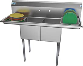 KoolMore 2 Compartment Stainless Steel NSF Commercial Kitchen Prep & Utility Sink with 2 Drainboards - Bowl Size 14