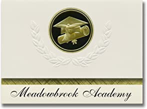 Signature Announcements Meadowbrook Academy (King, NC) Graduation Announcements, Presidential style, Elite package of 25 Cap & Diploma Seal Black & Gold
