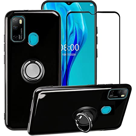 BestAlice for Ulefone Note 9P Case with Tempered Glass Screen Protector, Slim Soft TPU Cover & 360 Degree Rotating Magnetic Metal Ring Holder Kickstand, Black