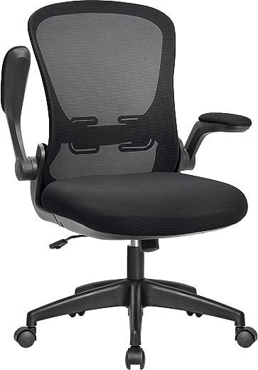 JUMMICO Bürostuhl Ergonomischer Schreibtischstuhl mit Klappbaren Armlehnen Drehstuhl Chefsessel Arbeitsstuhl Mesh Computerstuhl Netz Stuhl (Schwarz)