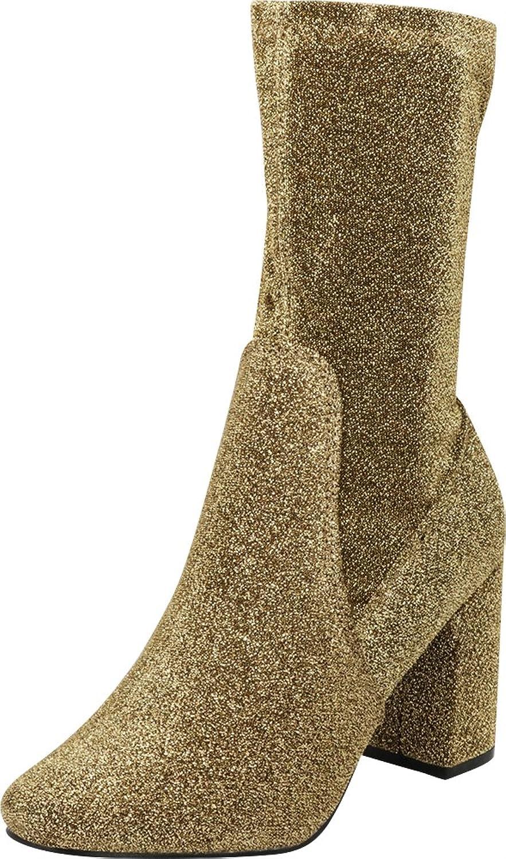 Cambridge Select Woherrar Closed Round Round Round Toe Soft Stretch Sock Style Chunky Block Heel Mid - Calf Boot  den mest fashionabla