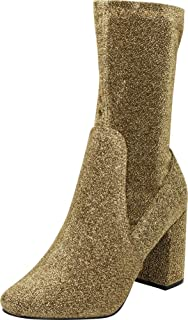 Women's Closed Round Toe Soft Stretch Sock Style Chunky Block Heel Mid-Calf Boot