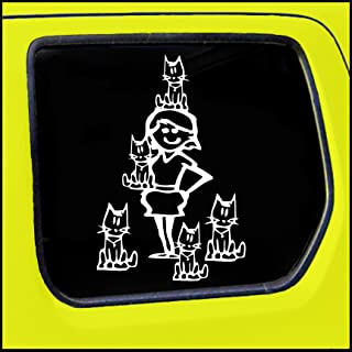 Crazy Cat Lady Stick Figure Family Decal can be applied to any surface Funny Vinyl Decal Sticker White In Color No Inks 100% Vinyl 8.5