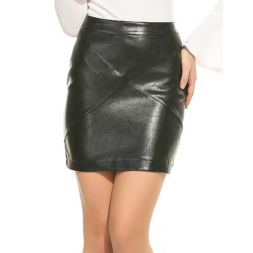 eeeeeb836c Zeagoo Women Classic High Waisted Faux Leather Bodycon Slim Mini Pencil  Skirt