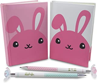 Easter Rabbit Pocket Notebook Journal Diary (2) with Flower Mechanical Pencils (2) - Perfect 4 Piece Set for Girls