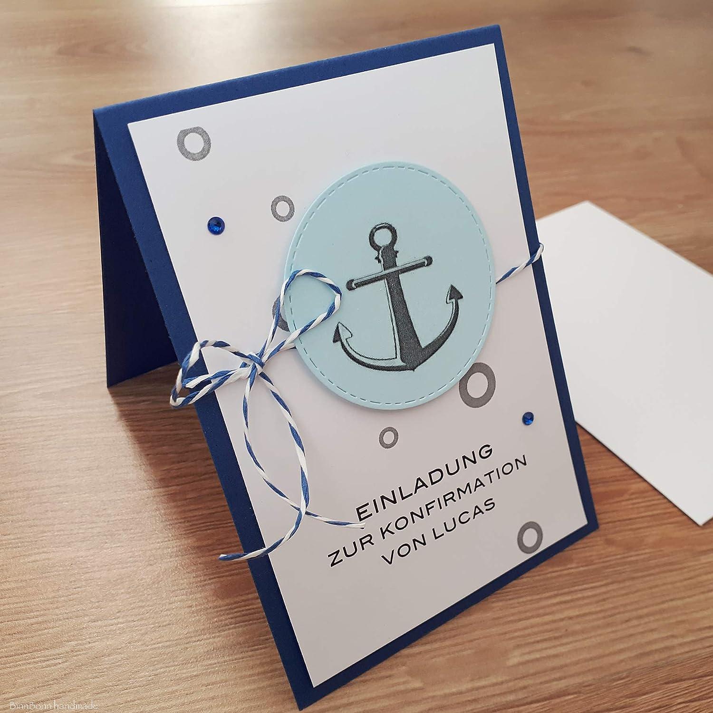 10 personalisierte Einladungskarten Einladung zur Kommunion Konfirmation Firmung Taufe Taufeinladung Kommunioneinladungen Anker blau Handarbeit binnbonn B07MS9KZNK  | Der neueste Stil