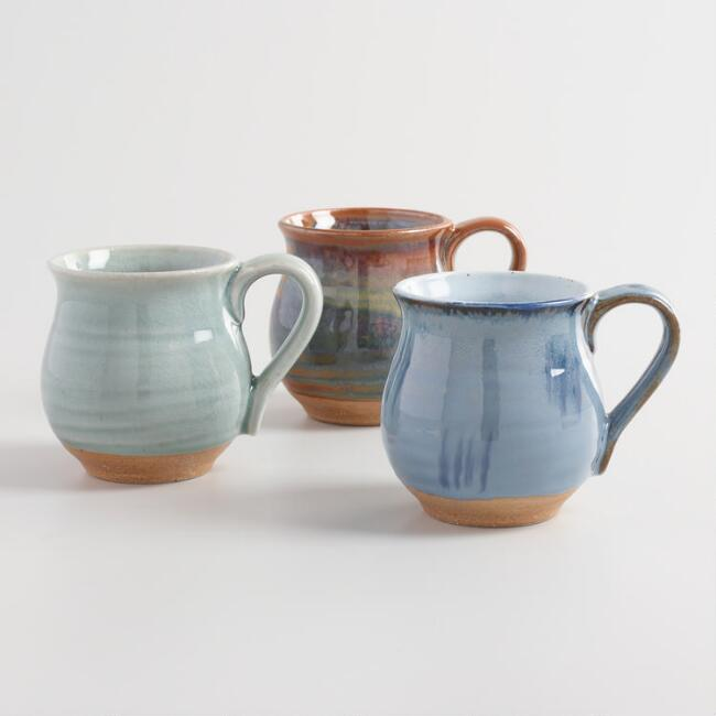 Organic Glazed Ceramic Belly Mugs Set of 3 | World Market