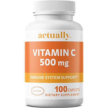 Actually Vitamin C 500mg Caplets -Immune System Support for Adults for 100 Day Supply, 100 Count