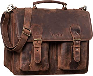 """STILORD Kronos"""" Aktentasche Leder Herren Lehrertasche Leder-Tasche Büro Business groß Arbeitstasche Umhängetasche Vintage Echtleder aufsteckbar"""