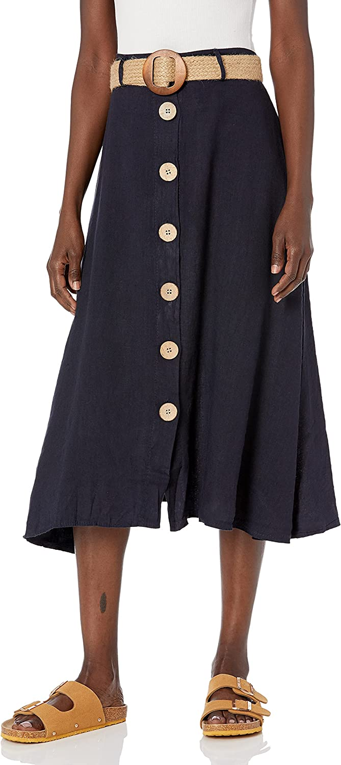 M Made in Italy Women's Button-Front Belted Skirt