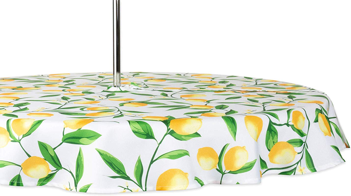 DII CAMZ11291 Spring Summer Outdoor Tablecloth Spill Proof And Waterproof With Zipper And Umbrella Hole Host Backyard Parties BBQs Family Gatherings Seats 2 To 4 60 Round W Lemon Bliss