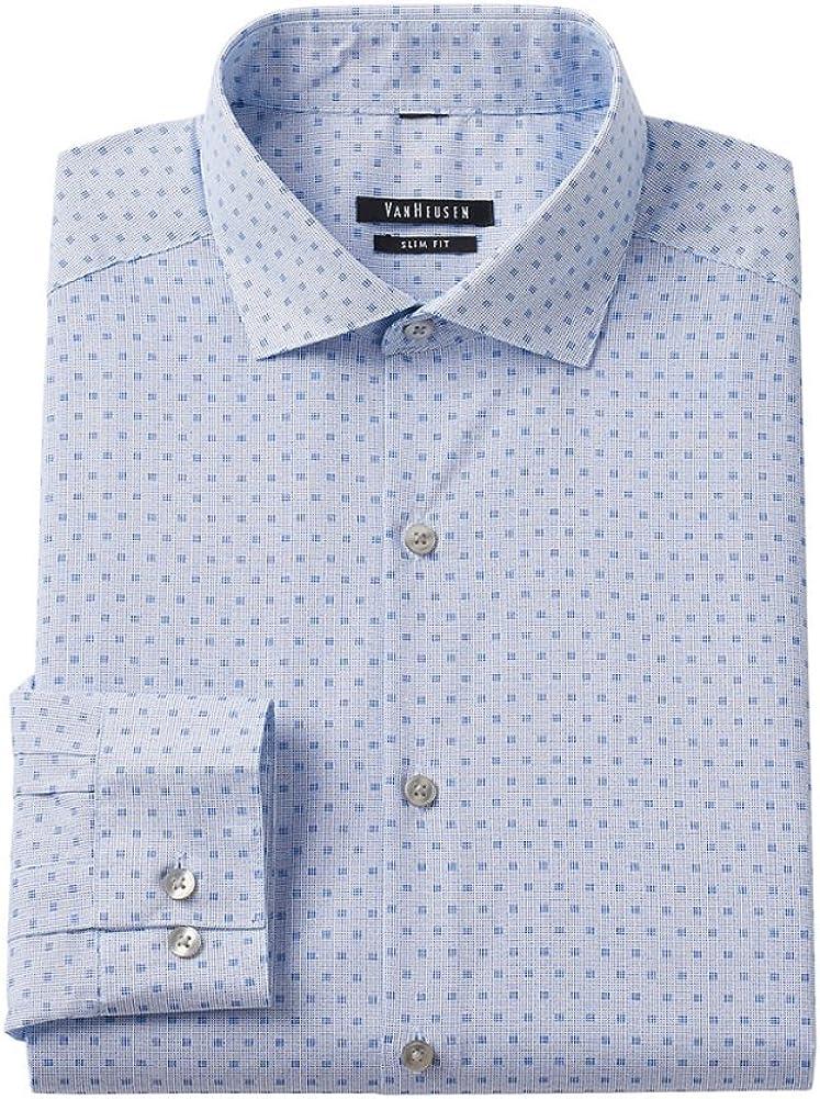 Van Heusen Men's Slim Fit Wrinkle Free Patterned Dress Shirt, Sailor Navy