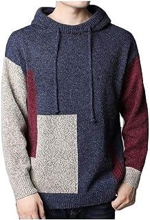 HEFASDM Mens Patchwork Knit Warm Hoodie Pullover Fall Winter Hooded Sweatshirt