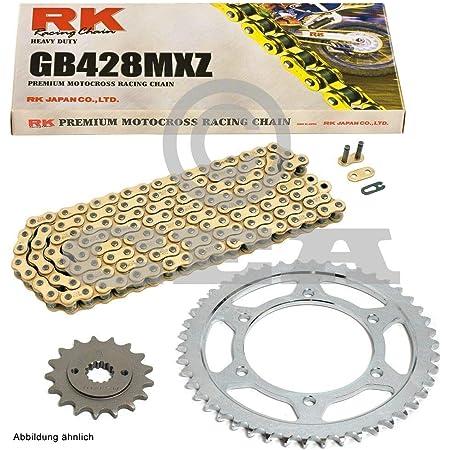 Kettensatz Geeignet Für Kreidler Supermoto 125 Dd 08 14 Scheibenbremse Kette Rk Gb 428 Mxz 136 Offen Gold 15 51 Auto