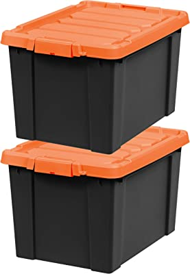 IRIS USA SIA Heavy-Duty Storage Plastic Bin Tote Container with Durable Lid and Secure Latching Buckles, Garage and Metal Rack organizing, 19 Gal. (2 Pack), Black/Orange, 38 Gallon
