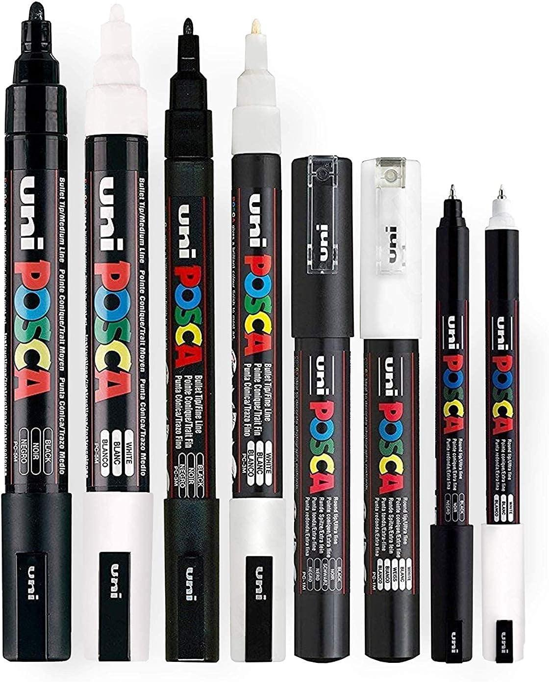 POSCA Noir &blanc fin à moyen (Lot de 8 stylos (PC- 5 m, PC- PC- 3 m, 1 m du PC - 1MR)