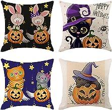 Weilov 4 Pcs Halloween Taie d'oreiller Taies d'oreiller Décoratif Café Boutique De Voiture Canapé Coussin Couverture Décor...