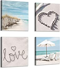 Canvas Wall Art Beach Picture: Artwork of Chairs & Sand Dune Painting Print Coastal Wall Artwork for Kitchen (12