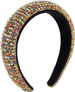 PHALIN Bejewelled Velvet Padded Headbands for Girls Multicolored Crystal Rhinestone Embellished Hairbands Wide Party Headw...