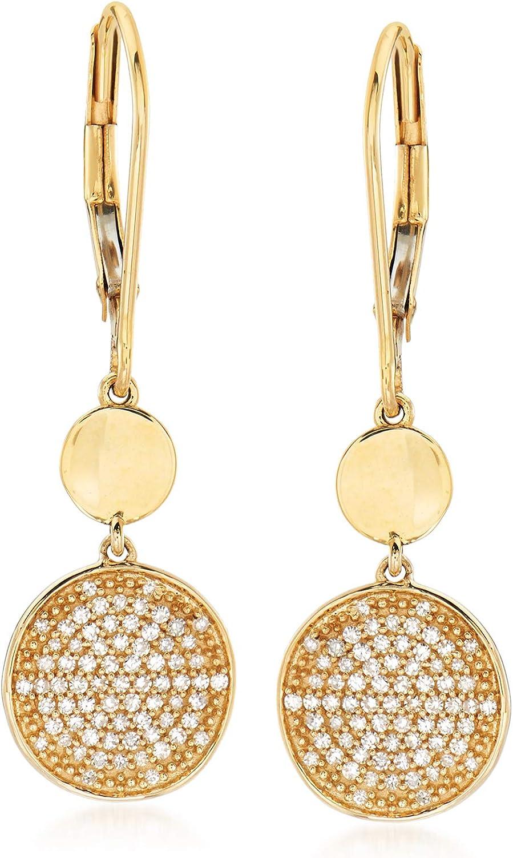 Ross-Simons 0.25 ct. Baltimore Mall t.w. Pave Diamond in Disc Earrings Popular popular 14k Drop